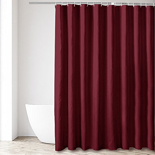 Eforgift Elegance Decor Stall Shower Curtain No More Water or Molds with Rust Proof Metal Grommets, Solid Color Shower Curtain Liner Wine Red for Women and Girls, 54 inches by 78 inches