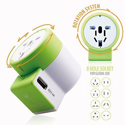 Dandelion Travel adapter Outlet adapter travel accessory with dual USB ports Universal Charger (UK, US, AU, Europe & Asia) International Power Plug Adapter with safety fuse - great travel gift (Green) by Dandelion (Image #3)