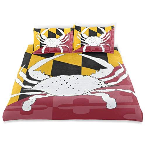 GZWNyuv Maryland Flag Crab Kids Bedding Soft 3 Piece (1 Duvet Cover + 2 ()