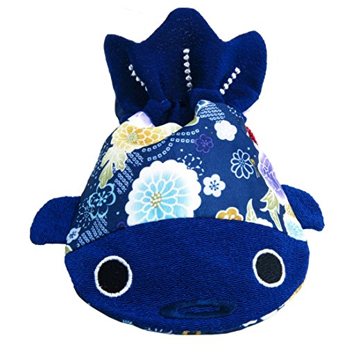 ✨ BARbee ✨ Japanese Traditional Chirimen & Kimono Print Fabric Sewing Craft Cute Goldfish Cosmetic Jewelry Key Pouch Coin Dice Purse Drawstring Bag for girls women kids boys (Small, Blue)