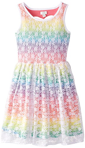The Children's Place Big Girls' Rainbow Lace Dress, Monet Iris, Medium/7/8