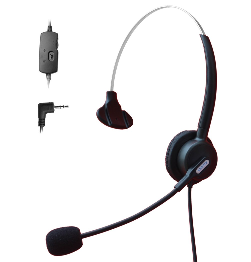 Comdio 2.5mm Call Center Telephone Headset Headphone with Mic + Volume Mute Controls for Panasonic AT&T ML993 992 984 E5945 E5640 EP5632 IP and Cordless Phones with 2.5mm Headset Jack (H103VP8)