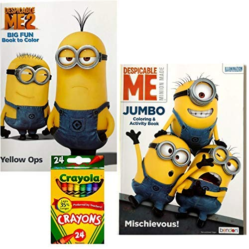Despicable Me Minions Coloring Book and Crayola Crayon Bundle Pack for Kids - Includes 2 - 94 Page Coloring Activity Books and 24 Count Crayola Crayons ()