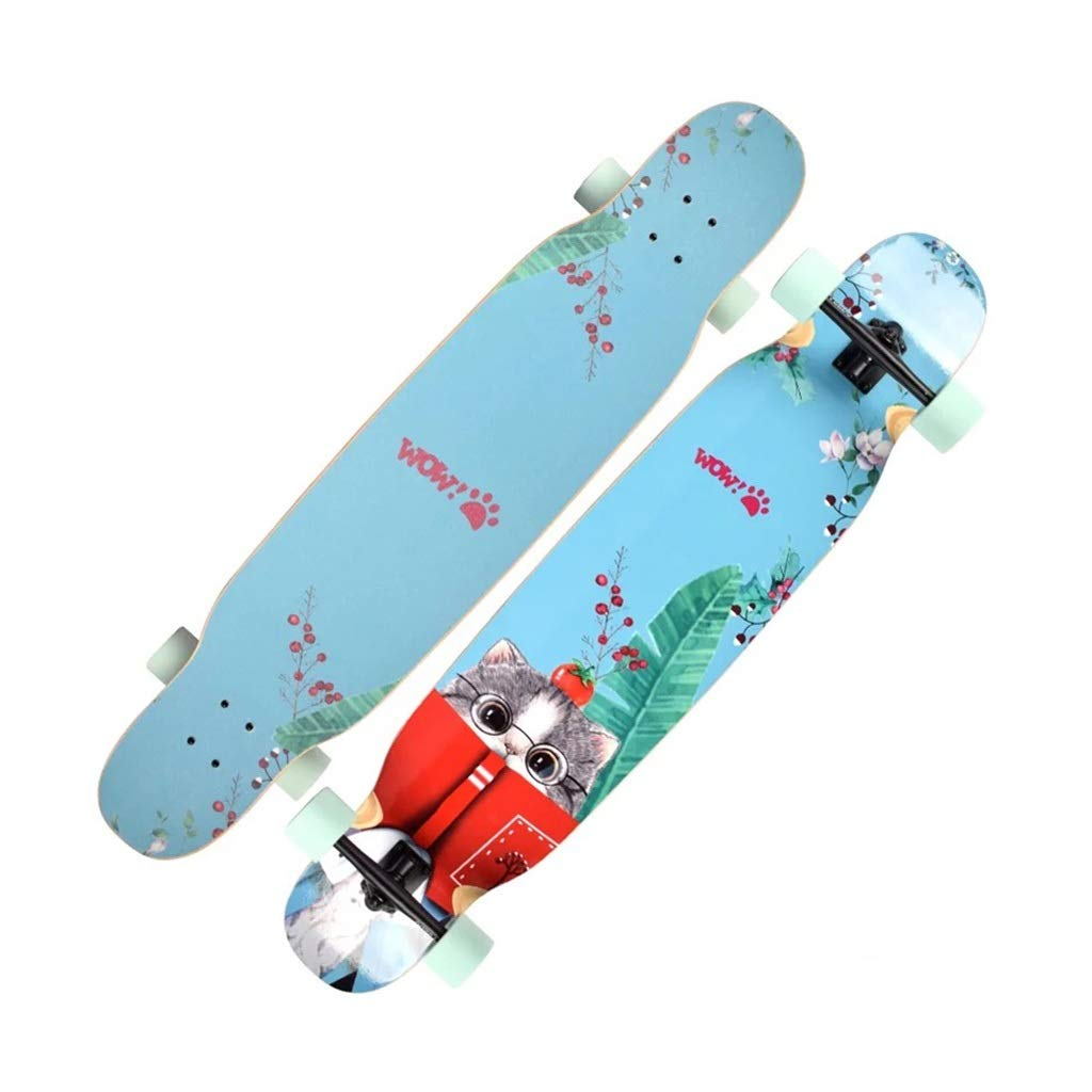 LINGLING-スケートボード ロングボードコンプリートスケートボード46インチ初心者四輪スケートボードユース大人子供用ブラシストリートダンスボード - ブルーキャット Photo Color