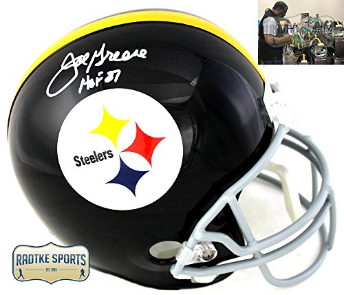 "Joe Greene Autographed/Signed Pittsburgh Steelers Throwback Full Size NFL Helmet with""HOF 87"" Inscription"