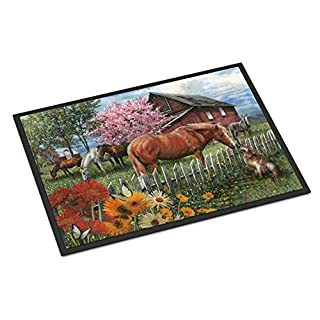 Caroline's Treasures PTW2020MAT Horses Chatting with The Neighbors Indoor or Outdoor Mat 18x27, 18H X 27W, Multicolor