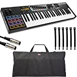 M-Audio Code 49 Black | 49-Key USB MIDI Keyboard Controller with X/Y Touch Pad (16 Drum Pads / 9 Faders / 8 Encoders) + Keyboard Gig Bag + DIN Pro MIDI Cable + Strapeez - Top Value Accessory Kit!!!