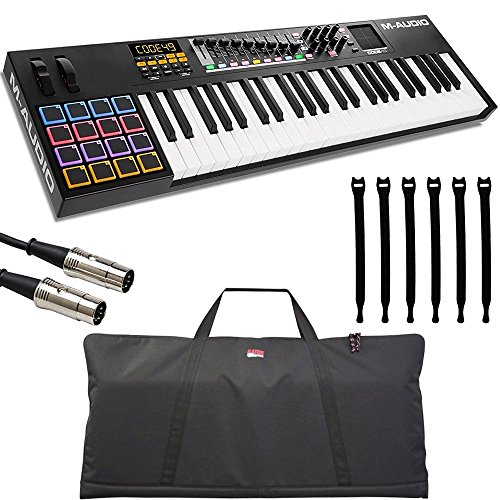 Black 16 Usb Keyboard - M-Audio Code 49 Black | 49-Key USB MIDI Keyboard Controller with X/Y Touch Pad (16 Drum Pads / 9 Faders / 8 Encoders) + Keyboard Gig Bag + DIN Pro MIDI Cable + Strapeez - Top Value Accessory Kit!!!