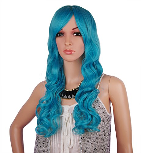 Spretty Long Curly Wavy Wig Fluffy Blue Color Wig for Women's Cosplay Costume Party - Legally Blonde Costume Party