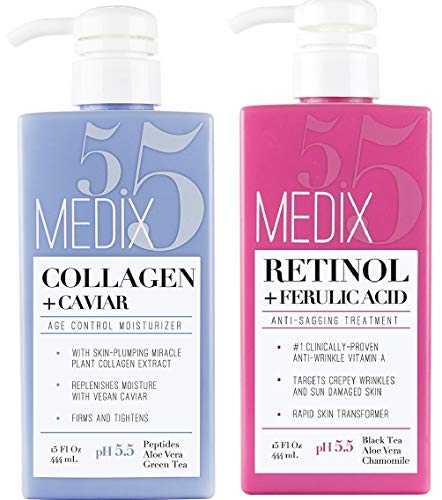 Medix 5.5 Retinol Cream and Collagen Cream Set. Medix 5.5 Retinol Cream with Ferulic Acid targets Crepey Skin, Wrinkles and Sun Damaged Skin. Collagen Cream firms and tightens Sagging Skin. Two 15oz (Best Lotion To Improve Skin Elasticity)