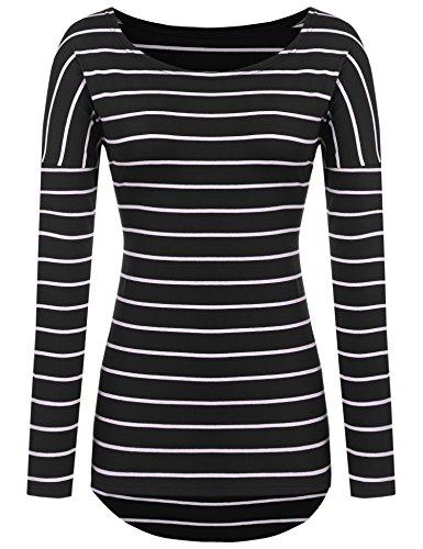 Striped Long Sleeve T-Shirts High-Low Hem Long Shirts Tunic Tops For Leggings For Women (S-US 2-4, Black)
