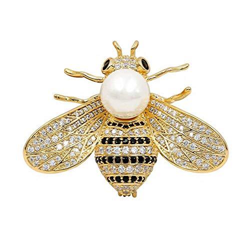 (Wedding Brooch pins Women Bouquet Rhinestone bee Rose Flower Butterfly Pearl (MA Gold Bee Pearl White))