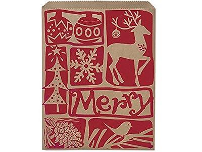 """12x15"""" Woodcut Christmas PaperMerchandise Bags 35lb (1 unit, 500 pack per unit.)"""
