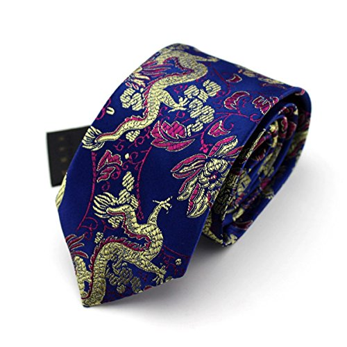 HXCMAN 7cm blue red floral Chinese dragon necktie classic design 100% silk men tie all-match party casual business banquet wedding groom in gift box ()