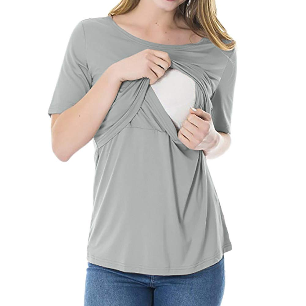 Xavigio_Women Tops and Blouses Women's Maternity Nursing Tops Short Sleeve O-Neck Breastfeeding T-Shirt Blouse Gray
