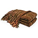 DOZZZ Chenille Couch Throw with Decorative Fringe Comfy Cover for Sofa Chair Bed Furniture Multi Gift Blanket
