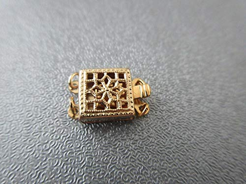 14K Gold Filled 2 Strand Square Filigree Box Clasp 1pc #ID-1192