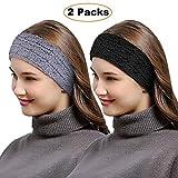 Womens Winter Knit Headband, Ski Hairband Beaine Ear Warmer (Black & Grey)