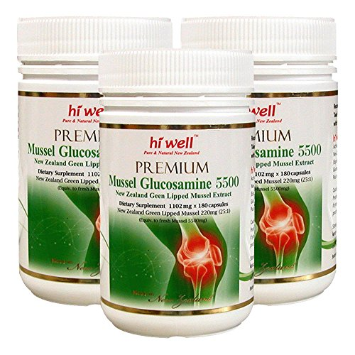 Hi Well Premium Mussel & Glucosamine 5500mg 180 Capsules New Zealand Green Lipped Mussel Extract Joint Health Supplements (Pack of 3) by Hi Well