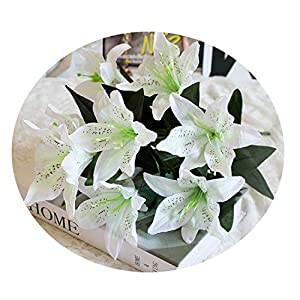 Elibone 10 Heads Wedding Easter Gift Office Valentine's Day Romantic Fake Lily Home Decorative Bouquet Party Artificial Flower Crafts 55