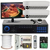 GW Security Inc 32CHE7 32 Channel H.264 960H Realtime DVR with Color SONY CMOS Indoor Security Camera, White/Black