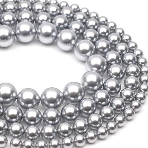 Oameusa 10mm Shell Pearl Electroplated Pearl Gray Round Beads Gemstone Beads Loose Beads Agate Beads for Jewelry Making 15