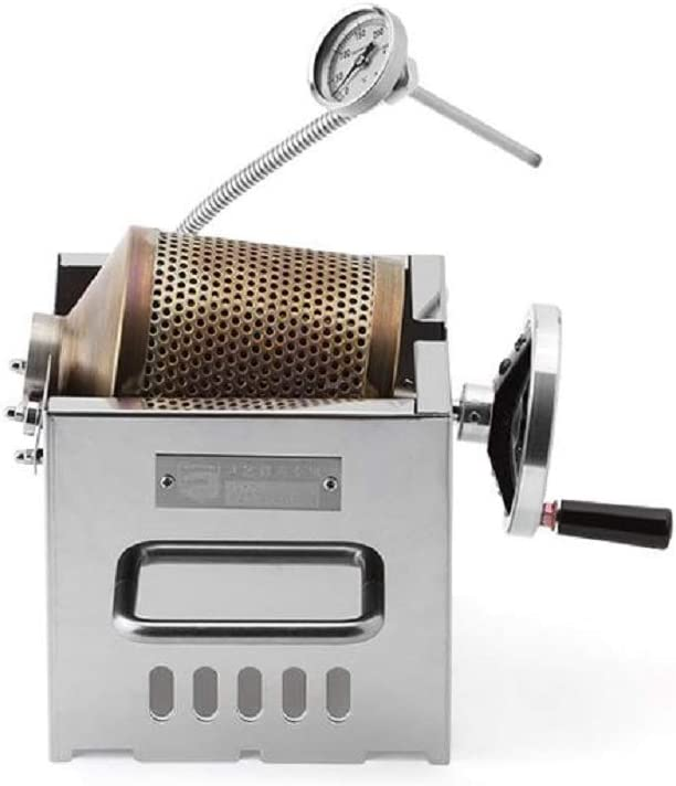 KALDI Coffee Roaster Mini Size (200~250g) Home Coffee Roaster Including Thermometer -Gas Burner Required (Manual with Sampler & Hopper)
