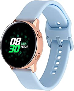 Klaas 20mm Width Silicon Band Compatible with Samsung Galaxy Watch 40mm 42mm/Gear Sport S2/Amazfit Bip/Huawei Smart Watch Quick Release Strap Wristbands for Ticwatch 2/S/E (Light Blue, Size S)