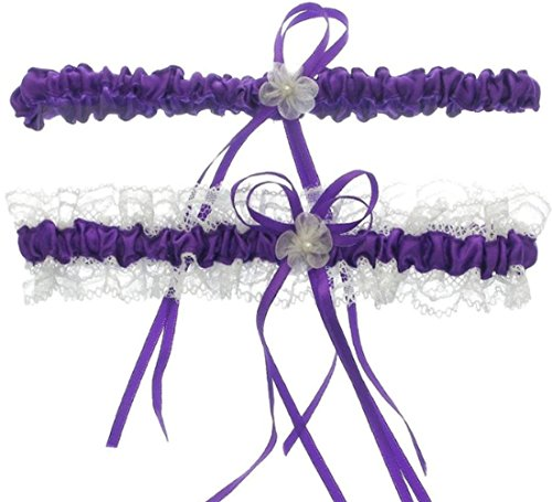 Toss Wedding Garter Set - Rimobul Lace Wedding Garters with Toss Away - Set of 2 (Purple)