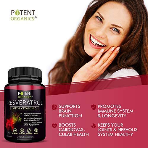 51pIYVHaJ5L - Extra Strong Resveratrol 1150mg - Anti-Aging Antioxidant Supplement - Promotes Immune & Cardiovascular Health - 120 Veggie Capsules with Trans Resveratrol, Vitamin C & Moringa - 100% Money Back