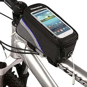 ROSWHEEL Ciclismo Mountain Bike Bicicleta Marco Marco Bolsa para tubo superior con funda con transparente ventana de PVC para móviles tamaño S/M/L (Blue, M)