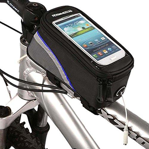 Roswheel Radfahren Mountain Bike Fahrradrahmen Tasche Rahmentasche Oberrohrtasche Handytasche mit transparentem PVC-Fenster für Handys Größe S / M / L (Blue, M)