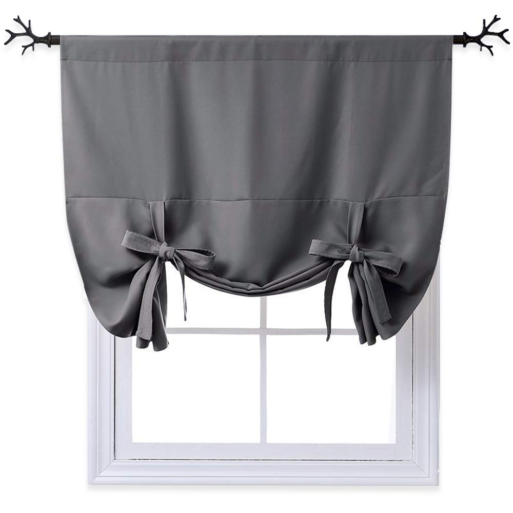 NICETOWN Full Shading Series Thermal Insulated Solid Rod Pocket Tie Up Shade Blackout Kitchen