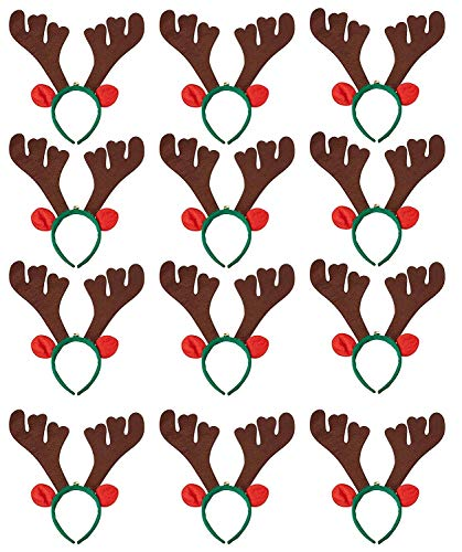 Reindeer Antler Headbands - 12-Pack Costume Party Accessories, Holiday Festive Photobooth Props and Decoration, For Easter, Halloween, Christmas, Fits Most Kids]()