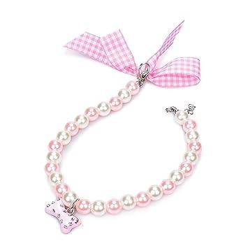 Dog Bone Pendant Cat Buckle Necklace Pet Collar Adjustable Pearl Necklace