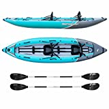 Cheap Driftsun Rover 220 Inflatable Tandem White-Water Kayak with High Pressure Floor and EVA Padded Seats with High Back Support, Includes Action Cam Mount, Aluminum Paddles, Pump and More