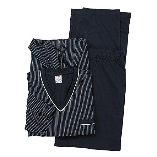 Übergrößen langarm Pyjama in dunkelblau von ADAMO bis 10XL