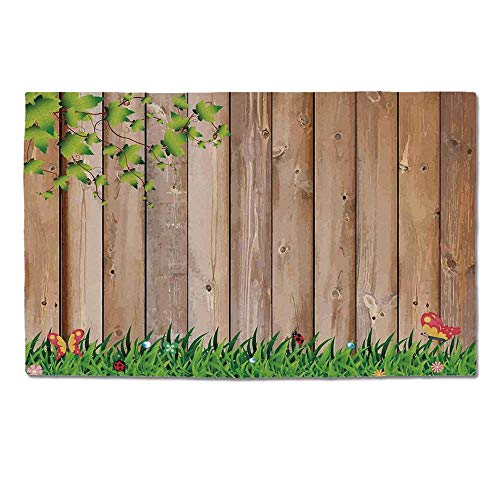 - YOLIYANA Farm House Decor Durable Door Mat,Fresh Spring Season Jardin with Butterflies and Ladybugs in Park Scene Artwork for Home Office,One Size