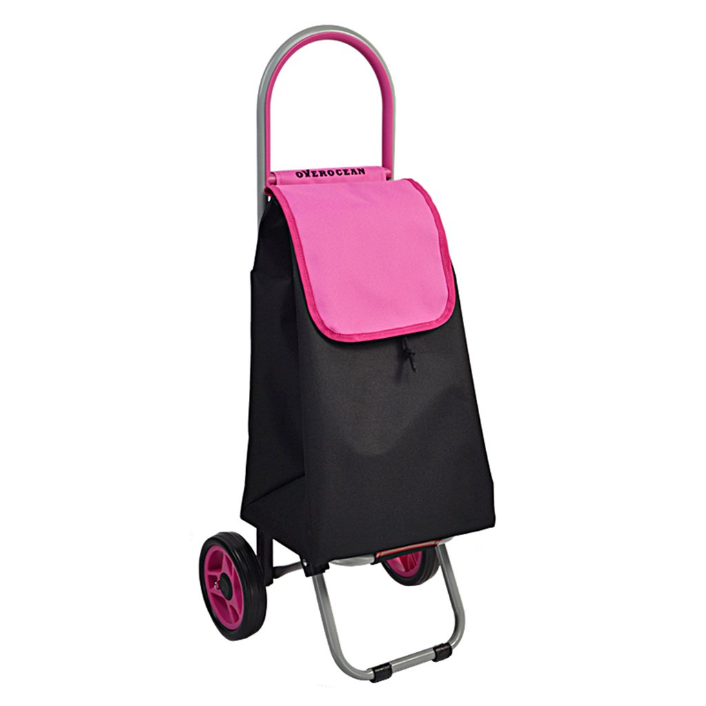 Shopping Cart Trolley Small Pull Cart Portable Shopping Cart Luggage Cart Supermarket Shopping Cart Folding (Color : Pink, Size : 903231cm)