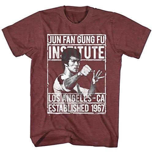 A&E Designs Bruce Lee Shirt Jun Fan Gung Fu Institute T-Shirt (5XL, Heather Maroon) (Jun Fan Gung Fu Institute T Shirt)