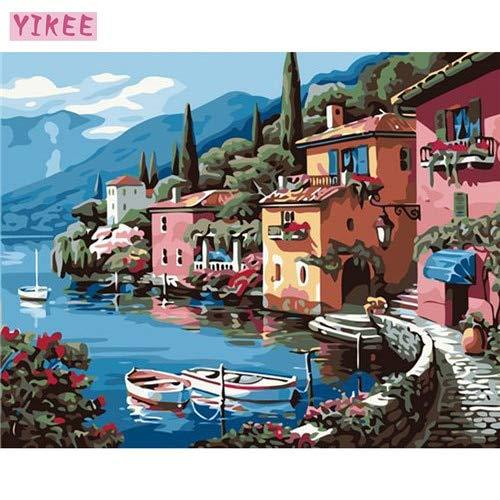 KYKDY dekorative bilder meer landschaftsfarben nach zahlen, für wohnzimmer, bilder nach zahlen, 40x50cm kein rahmen, pinsel B07NYS8NBN | Outlet