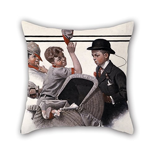 TonyLegner Oil Painting Norman Rockwell - Boy with Baby Carriage Cushion Covers 16 X 16 Inches / 40 by 40 cm Gift Or Decor for Bedroom Drawing Room Him Teens Girls Sofa Him - Twin Sides]()