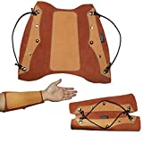 Toparchery Leather Arm Guard Forearm Protector Gear Traditonal Recurve Compound Bow Hunting Shooting Brown