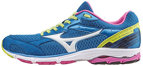 Mizuno Wave Aero Wos, Zapatillas de Running Para Mujer Azul - Bleu (DirectoireBleue/Blanc/Electric)