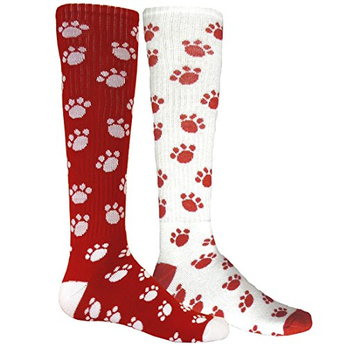 Red Lion Paws Animal Print Mismatched Knee High American Made Socks