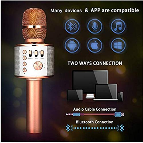 Wireless Karaoke Microphone Machine 3 in 1 Handheld Portable Bluetooth Karaoke Player Compatible with Android & iOS for Home KTV Bar Party Muisc Playing Singing & Recording Wireless Bluetooth Karaoke by Xiuzhifuxie (Image #3)