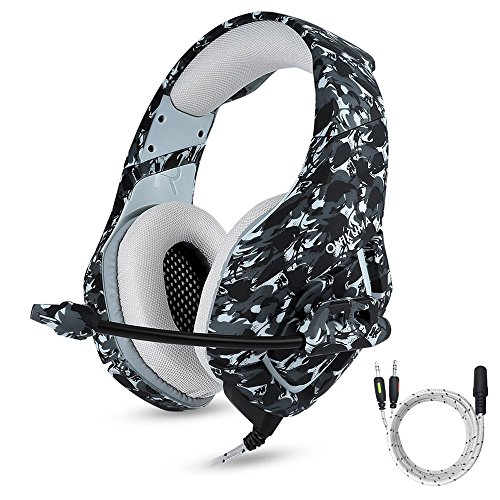 ONIKUMA Gaming Headset with Mic for New Xbox One, PS4, Nintendo Switch, Over Ear 3.5mm Stereo Sound Headphones with Mic Noise Isolating for Iphone, Ipad, PC, - 6.56' Stereo Audio