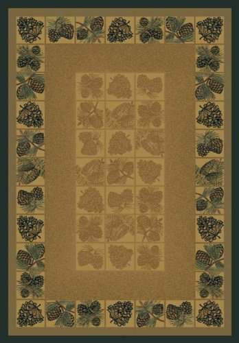 United Weavers of America Genesis Collection Pine Cones Heavyweight Heat Set Olefin Rug, 5-Feet3-Inch by 7-Feet 6-Inch, Natural