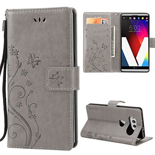 Price comparison product image LG V20 Case, Premiun Wallet Leather Credit Card Holder Butterfly Flower Pattern Flip Folio Stand Case for LG V20 With a Wrist Strap - Grey