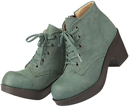Paperplanes-1700 Fashion Lace-Up Cuban Heel Women Boots 1702-khaki H5LED